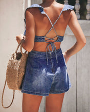 Lace-up sleeveless backless denim jumpsuits