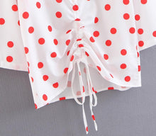 Drawstring Polka Dot Printed Blouse