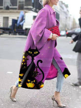 Fashion Cat Print Loose Long Coat