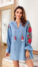 Cowboy embroidered lantern long sleeve mini dress