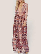 Dovechic Bohemia Chiffon Lace Deep V-Neck Long Sleeves Floral Print Maxi Dress