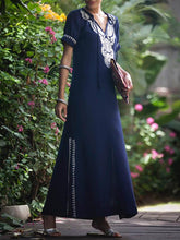 Dovechic Navy Blue Floral Short Sleeves Maxi Dress Cover-Ups