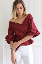 Cotton deep V-neck off-the-shoulder puff sleeve shirt