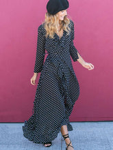 Bohemian Polka-dot V-neck Long Sleeves Maxi Dress