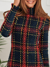 Colorful Plaid Print Tassels Long Sleeve Mini Dreses