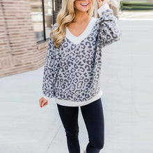 Women's Casual Christmas Leopard V-neck Loose T-shirt
