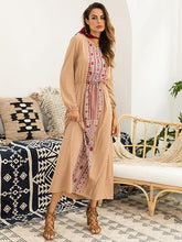 Dovechic Round-neck Long Sleeves Printed Maxi Dress
