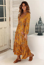 Bohemian V-neck Long-sleeve Print Maxi dress