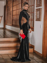 Sexy Backless Slim Long-Sleeved Mermaid Evening Dress