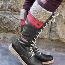 Casual Side Zipper Lacing Stitching Mixed Color Martin Boots
