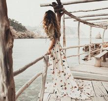 Sexy Off Shoulder Floral Printed Maxi Dresses