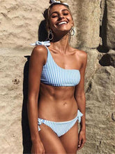 Dovechic Striped Bandeau Lace Up Bikinis Swimwear