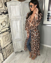 Leopard grain printing The button Long sleeve dress
