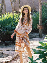Bohemian Floral Printed Long Sleeve Orange Midi Dress