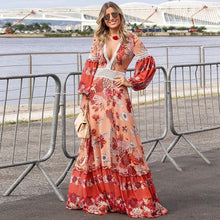 Chic Long Sleeves Bohemia Maxi Dress