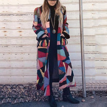 fashion Contrast Colour loose pockets ankle-length coat