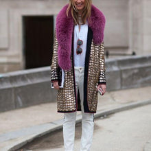Fashion fur collar sequined loose coat