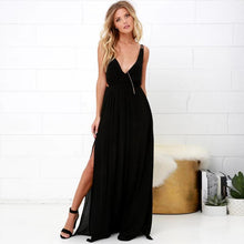 Bohemian Solid Color Sling V-Neck Halter Dress