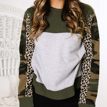 Women's Casual Round Neck Long Sleeve Camouflage Pattern Loose Sweatshirt