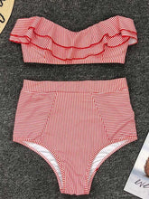 Dovechic Striped Ruffled With High Waist Bikini Set