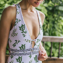 Green Leaf Bandage One-piece Swimsuit