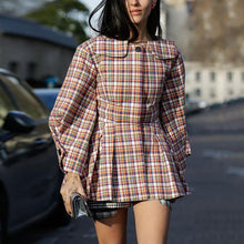 Fashion Round Neck Color Plaid Stitching Jacket