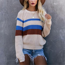 Women's round neck color stitching long sleeve knit top