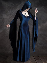 Dovechic Hooded Velvet Flared Maxi Dress