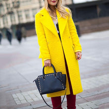 Fashion Bright Yellow Large Lapel Loose Coat