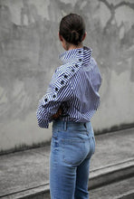 Casual Stand Collar Stripe Blouse