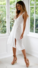 White Polka Point Midi Dress