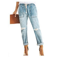 Casual Straight Drawstring Pocket Jeans