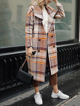Fashion Flip Collar Double-Breasted Contrast Plaid Long-Sleeved Woolen Coat