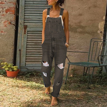 Casual Hole Denim Big Pocket Nine Points Jumpsuit Overalls