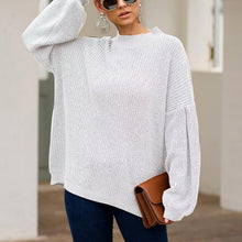 Casual Round Neck Pure Color Sweater