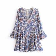 Floral Print V-neck Flare Long Sleeve Boho Mini Dress