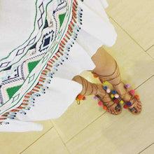 Lace-up Flat Sandals Mixed Color Thin Strap Boho Sandals