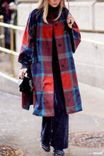 Fashion Round Collar Check Printed Color Blocking Woolen Long Coat