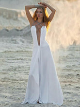 Dovechic White Deep V-neck Split-side Maxi Dress