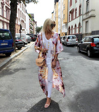 Casual Tie-Dyed Printed Sleeves Long Cardigan