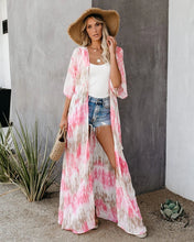 Fashion Holiday Tie Dye Halflong Sleeve Cardigan