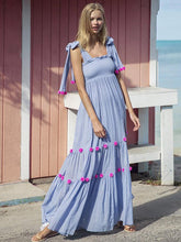 Dovechic Bohemia Pompoms Knotted Bowknot Split-front Maxi Dress