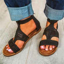 2019 Summer Weave Strar Plain Hollow Flat Zipper Sandal
