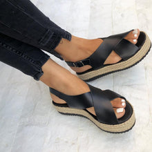 Casual Cross Strap Plain Open Toed Thicken Sole Sandal