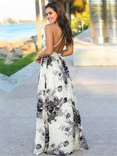 Bohemian V-neck elegant  backless Strap Dresses