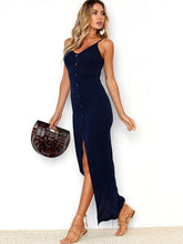 Dovechic Solid Color Condole Belted Maxi Dress