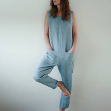 Cotton And Linen Casual Jumpsuit Overall