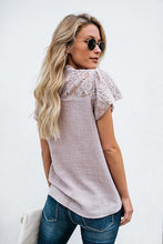 Fashion Lace Button Short Sleeve Top