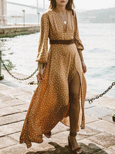 Dovechic Pretty Bohemia Polka-dot V Neck Maxi Dress