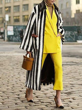 Casual Striped Faux Fur Collar Coat
